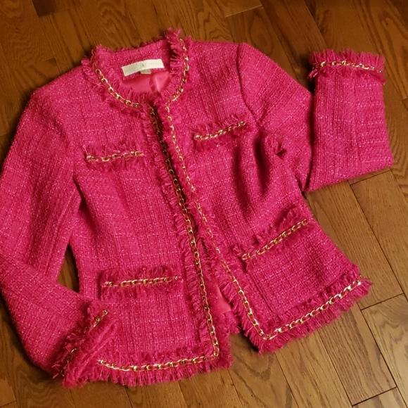 Boston Proper Jackets & Blazers - BOSTON  PROPER tweet BLAZER Cropped fuchsia  color